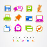 Business Office icons set logo sign illustration Stock Images