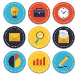 Business and Office icons set. Set of vector business and office icons. Isolated and round elements Royalty Free Stock Images