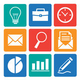 Business and Office icons set. Set of vector business and office icons. Isolated and square elements Royalty Free Stock Images