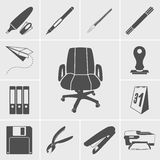 Business and office icons vector set. Black business and office icons vector set on gray background Stock Photo