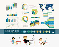Business office and infographics. Business office and info graphics, people working Royalty Free Illustration