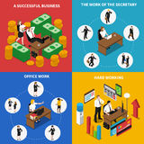 Business Office 4 Isometric Icons Square Royalty Free Stock Photography