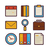 Business and Office Life Items Modern Flat Icons Set. Vector Business and Office Life Items Modern Flat Icons Set. Workplace App Web Elements Collection. Office Stock Images