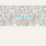Business Office Life Line Art Seamless Web Banner. Vector Illustration for Website banner and landing page. Working Place and Job Modern Design Stock Photography