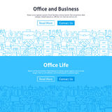 Business Office Life Line Art Web Banners Set Stock Photo