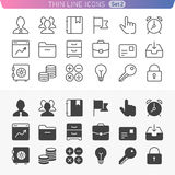 Business and office line icon set. Trendy thin line icons for web and mobile. Normal and enable state Royalty Free Stock Images