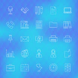 Business Office Line Icons Set over Polygonal Background Royalty Free Stock Images