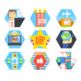 Business, Office and Marketing Icons. Flat Vector. Illustration Set Royalty Free Stock Photos