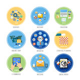 Business, office and marketing items icons. Royalty Free Stock Photo