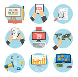 Business, office and marketing items icons. Stock Photo