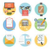 Business, office and marketing items icons. Royalty Free Stock Image