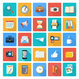 Business, office and marketing items icons. Web design objects, business, office and marketing items icons flat design Royalty Free Stock Images