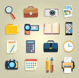 Business, office and marketing items icons Stock Photos