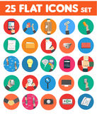 Business, office and marketing items icons. Web design objects, strategy, business office and marketing items icons. Set of 25 business item icons in flat design Royalty Free Stock Photo