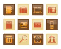 Business, Office and Mobile phone icons over brown background. Vector Icon Set stock illustration