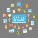 Business office networking and communication vector illustration