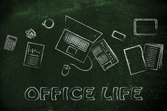 Business office objects desk illustration, organization and prod Royalty Free Stock Photos