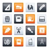 Business and office objects icons over color background royalty free stock photos
