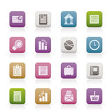 Business and Office Realistic Internet Icons Stock Images