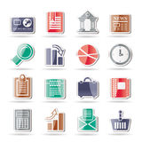 Business and Office Realistic Internet Icons Stock Image