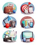 Business Office Round Icons Set. Business attributes symbols 6 round colorful icons set with laptop growth diagram and office supply isolated vector illustration Royalty Free Stock Photos