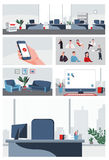Business office set collection people and backgrounds for info graphic, advertise, cartoon, print, projects Stock Image