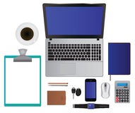 Business office set laptop, smartphone, notebook, pencil, pen, Stock Images