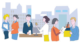 Business office and staff - meetings, conversations. And cooperation stock illustration