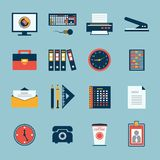 Business office stationery icons set. Of computer keyboard printer and phone isolated vector illustration Stock Images