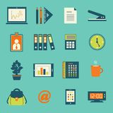 Business office stationery icons set. Of smartphone tablet and notebook computer isolated vector illustration Royalty Free Stock Photos