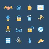 Business office stationery icons set. Of chair safe table and lock isolated vector illustration royalty free illustration