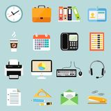 Business office stationery icons set. Of phone documents files and clock isolated vector illustration Royalty Free Stock Photos