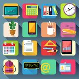 Business Office Stationery Icons Set. Of laptop computer tablet and smartphone vector illustration Stock Photography