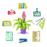 Business office stationery supplies icons set. With decorative desktop flower plant isolated sketch vector illustration Stock Images