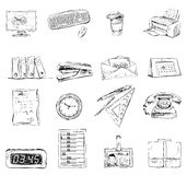 Business office stationery supplies icons set Royalty Free Stock Images