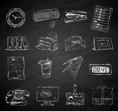 Business office stationery supplies icons set. Of folders files documents and briefcase isolated chalkboard vector illustration Stock Photo