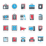 Business and office supplies icons Stock Image