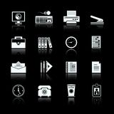 Business office supplies pictograms set. Of folders files documents and stapler vector illustration Stock Image