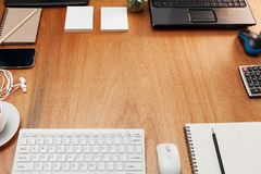 Business office table with computer Objects for business and off Stock Image