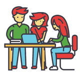 Business office team meeting, man and women working, brainstrorm, coworking center concept. Stock Photography
