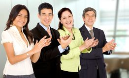 Business office team smiling Stock Photo