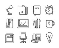 Business and office thin line icons Stock Images