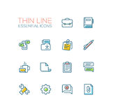 Business, Office - Thin Single Line Icons Set Stock Photography