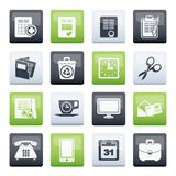 Business and office tools icons over color background. Vector icon set stock illustration