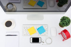 Business office top view computer monitor Royalty Free Stock Images