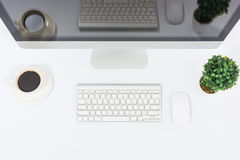 Business office top view computer monitor Royalty Free Stock Image