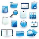 Business and office vector icon set. Vector illustration of blue business and office icons Stock Photo