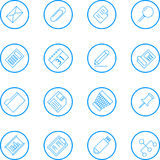 Business And Office Vector Line Icon Collection. Vector icon collection of sixteen common business and office subjects in two dimensional perspective. Text has Stock Images