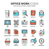 Business and office work. Documents, paperwork. Businessman. Thin line blue web icon set. Outline icons collection. Vector illustration Royalty Free Stock Photos
