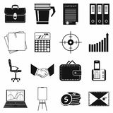 Business and office work icons set, simple style. Business and office work icons set in simple style on a white background Stock Photos